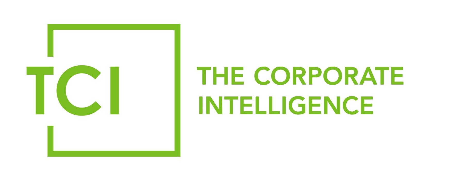 Logo von TCI – The Corporate Intelligence in Grün auf Weiß